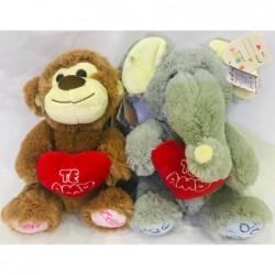 mono y elefante con corazon