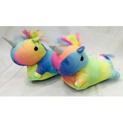 Pantufla unicornio multicolor